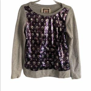 Chelsea & Violet sequin skull sweater